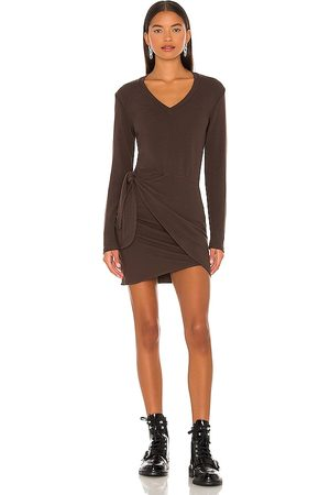 MONROW X REVOLVE Supersoft Long Sleeve V Dress in Chocolate.