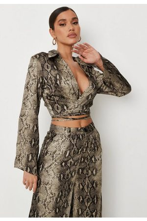 Missguided Women Wrap tops - Khaki Snake Print Satin Wrap Front Shirt