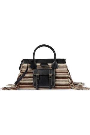 Chloé Edith Large fringe-trimmed striped cashmere and leather tote