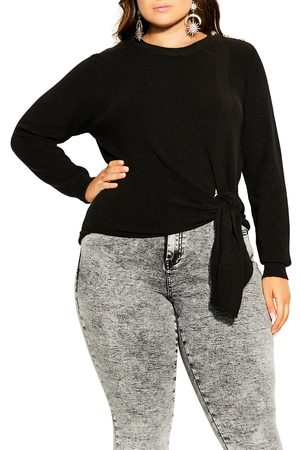 City Chic Plus Size Women's Royal Button Detail Tie Front Sweater