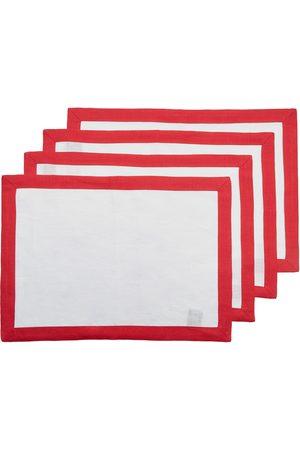 Stephanie Set-Of-Four Two-Tone Linen Placemats - Color: - Material: Linen - Moda Operandi