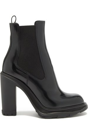 Alexander McQueen Tread Heeled Patent-leather Chelsea Boots - Womens