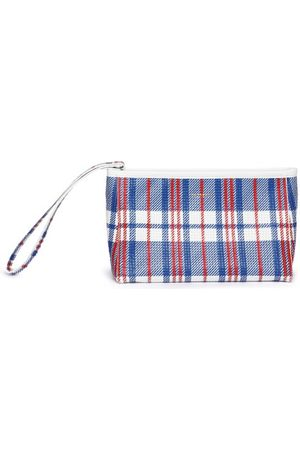Balenciaga Barbes Checked Woven-leather Pouch - Womens