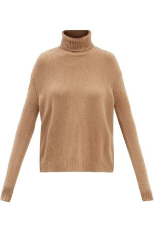 VALENTINO Roll-neck Logo-intarsia Cashmere Sweater - Womens - Camel