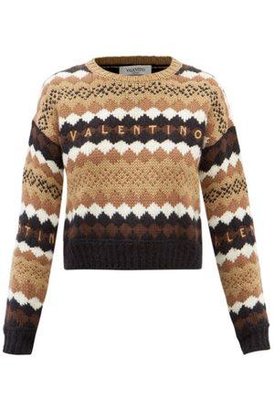 VALENTINO Women Sweaters - Argyle-jacquard Wool Sweater - Womens