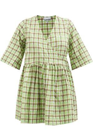 Ganni Women Party Dresses - Checked Organic-cotton Blend Seersucker Mini Dress - Womens - Multi
