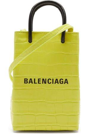 Balenciaga Women Purses - Shopping Mini Croc-efffect Leather Cross-body Bag - Womens