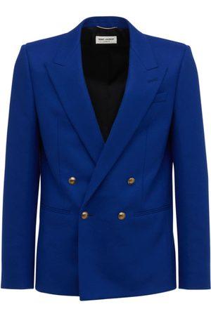SAINT LAURENT Men Blazers - Double Breast Wool Flannel Blazer