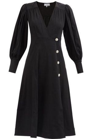 Ganni Women Midi Dresses - Crystal-button Puff-sleeve Crepe Dress - Womens