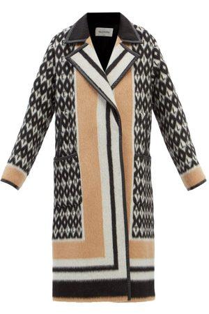 VALENTINO Women Leather Jackets - Monogram-print Leather-trim Wool-blend Coat - Womens
