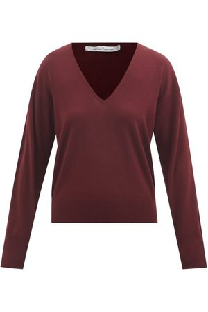 Another Tomorrow V-neck Wool-blend Sweater - Womens - Burgundy