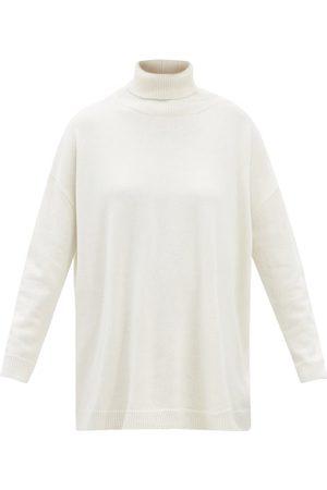 VALENTINO Women Turtlenecks - Roll-neck Slit-back Cashmere Sweater - Womens - Ivory