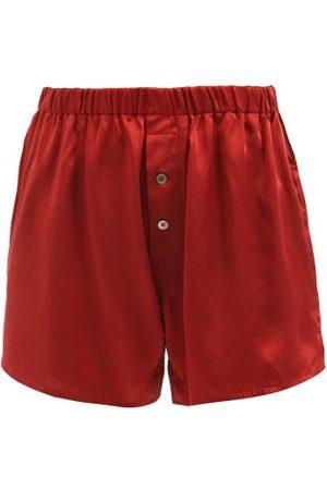 Araks Eduardo Silk-satin Pyjama Shorts - Womens - Burgundy