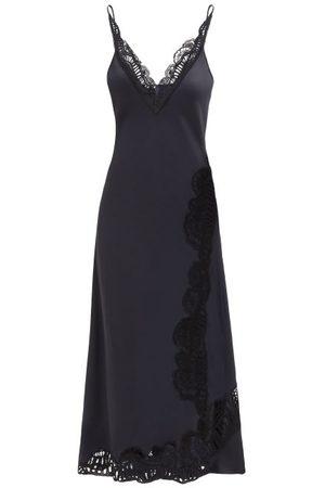 Jil Sander Guipure Lace-insert Satin Slip Dress - Womens - Navy