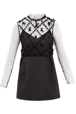 VALENTINO High-neck Sequinned-mesh And Wool-blend Mini Dress - Womens