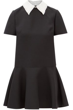 VALENTINO Women Dresses - Embroidered Point-collar Wool-blend Crepe Dress - Womens