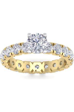 SuperJeweler Women Rings - 3 Carat Round Shape Moissanite Eternity Engagement Ring in 14K (3 g)