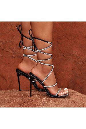 simmi.com Women Heels - Emily Miller Ignite Patent Diamante Lace Up Heels
