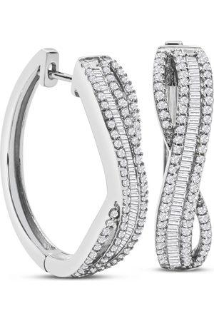SuperJeweler 1 Carat Baguette & Round Colorless Diamond Swirl Hoop Earrings in Sterling (F-G Color