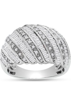 SuperJeweler Women Rings - 1 Carat Baguette & Round Colorless Diamond Dome Wedding Band Ring in Sterling (F-G Color
