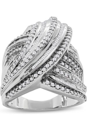 SuperJeweler Women Rings - 1 Carat Round & Baguette Colorless Diamond Swirl Wedding Band Ring in Sterling (F-G Color