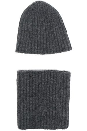 Nanushka Beanies - Ribbed-knit detachable beanie hat - Grey