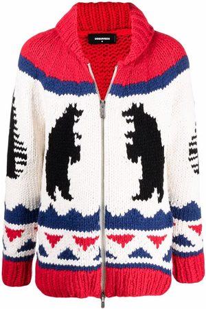 Dsquared2 Men Sweatshirts - Intarsia-knit zip-up jumper