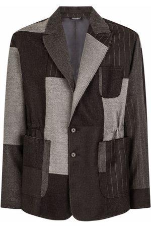 Dolce & Gabbana Men Blazers - Raw cut-hem patchwork blazer - Grey