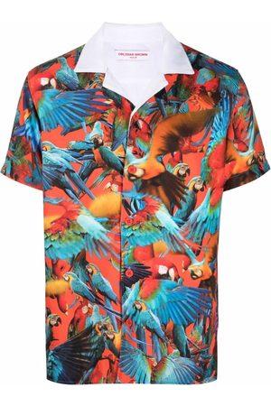 Orlebar Brown Bird-print short-sleeved shirt