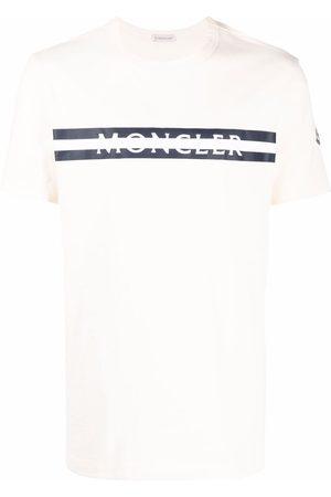 Moncler Men T-shirts - Logo-print cotton T-shirt - Neutrals