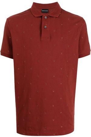 Emporio Armani Men Polo Shirts - Micro-eagle embroidered-logo polo shirt