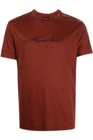 Emporio Armani Men T-shirts - Signature embroidered-logo T-shirt