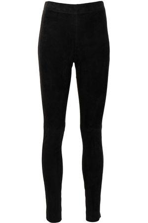 Joseph Women Leather Pants - Suede skinny trousers