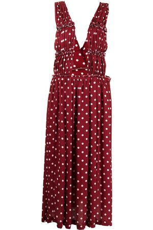 Comme des Garçons Women Printed Skirts - Polka dot-print maxi skirt with straps