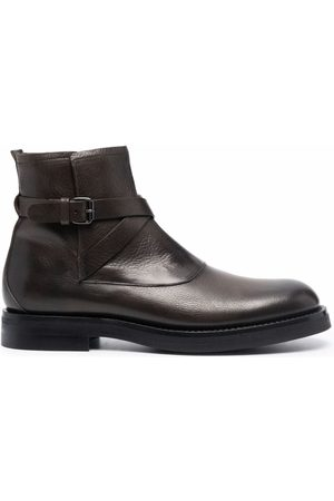 Silvano Sassetti Men Ankle Boots - Grafite buckle leather ankle boots