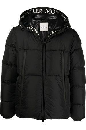 Moncler Men Puffer Jackets - Logo-trim padded hooded jacket