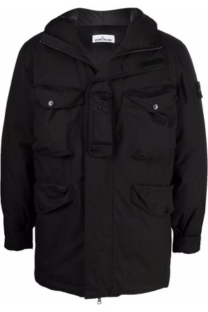 Stone Island Men Puffer Jackets - Compass-patch padded hooded jacket