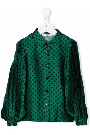 Msgm Girls Shirts - Polka dot-print pleated sleeve shirt