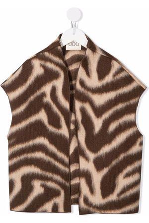 DOUUOD KIDS Girls Waistcoats - Zebra-print knitted waistcoat
