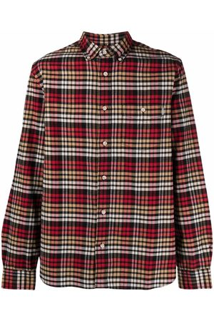 Woolrich Men Long sleeves - Checked cotton long-sleeve shirt
