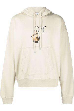OFF-WHITE Men Hoodies - Caravaggio logo-print hoodie - Neutrals