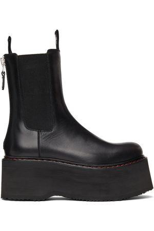 R13 Women Chelsea Boots - Black Double Stacked Chelsea Boots
