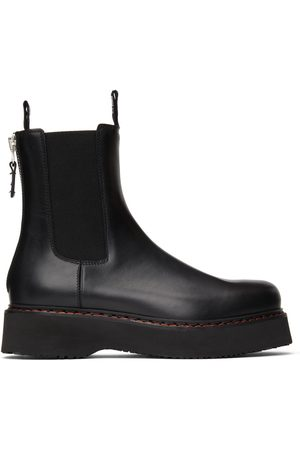 R13 Women Chelsea Boots - Black Single Stack Chelsea Boots