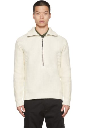 Moncler Men Sweaters - Off-White T-Neck Sweater