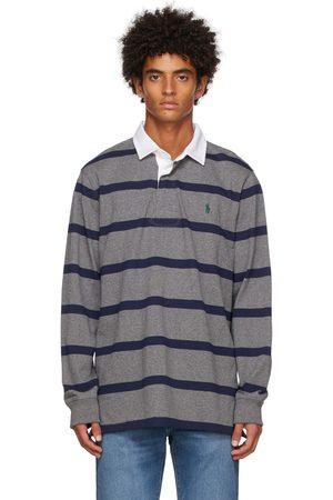 Polo Ralph Lauren Men Polo Shirts - Grey & Navy Rugby Long Sleeve Polo