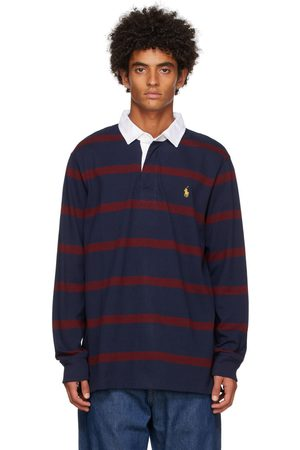 Polo Ralph Lauren Men Polo Shirts - Burgundy & Navy Rugby Long Sleeve Polo
