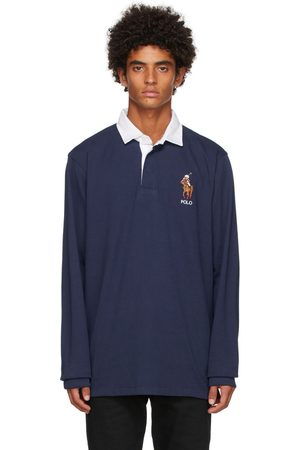 Polo Ralph Lauren Men Polo Shirts - Navy Rugby Long Sleeve Polo