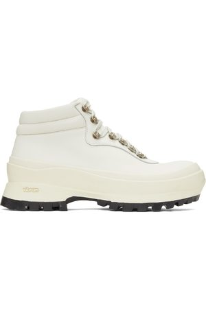 Jil Sander Women Outdoor Shoes - Off-White Leather Hiking Boots