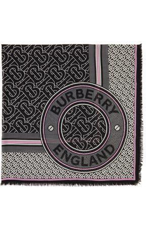 Burberry Men Scarves - Silk & Wool Gauze Monogram Square Scarf