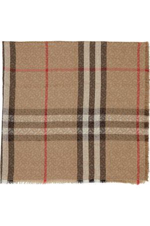 Burberry Men Scarves - Silk & Wool Lightweight Monogram Check Scarf